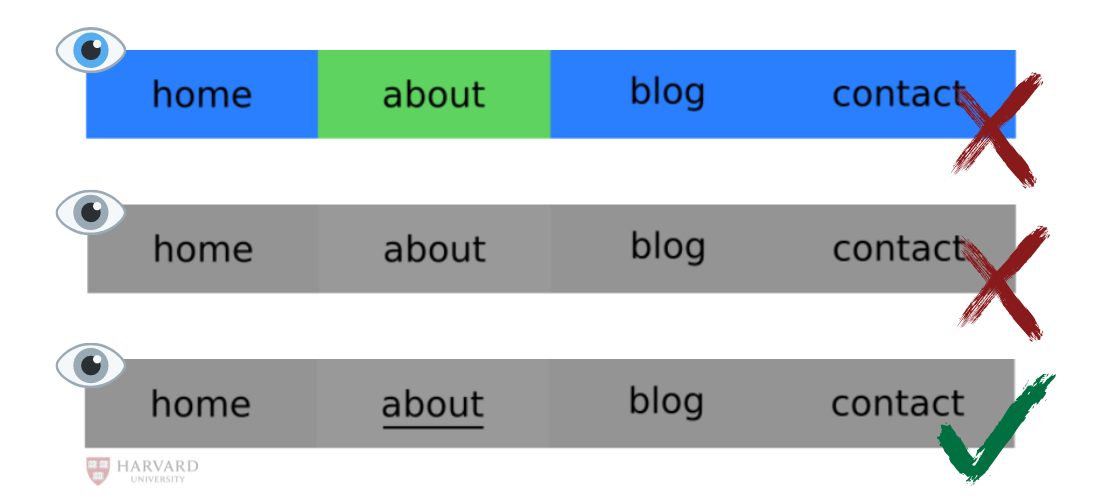 Navigation bar examples for regular vision, color blind, and low-vision users